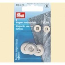 Nasturi magnetici aplicabili 19mm argintii - Prym