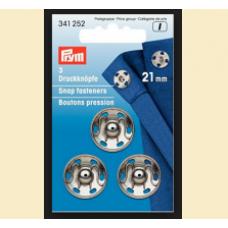 Set capse metalice de cusut, culoare argintiu, 21 mm - Prym